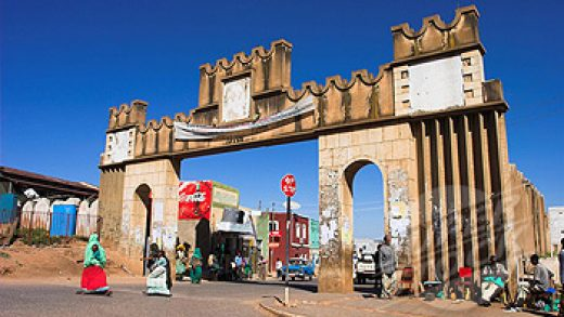 Harar Gate or Duke´s Gate named after the first Duke of Harar, Ras Makomen, one of seven entrances to the ancient walled city, Harar, Ethiopia, Africa